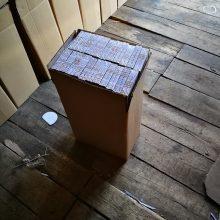 Kaune rajone pasieniečiai likvidavo didelį kontrabandinių rūkalų sandėlį