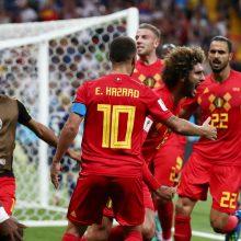 Belgijos futbolininkai dramatiškai išsigelbėjo pasaulio čempionato aštuntfinalyje