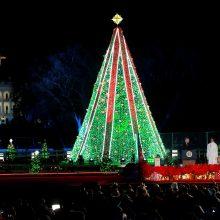 JAV pirmoji pora įžiebė nacionalinę Kalėdų eglę