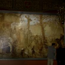 """Valdovų rūmuose eksponuojamas istorinis paveikslas """"Lietuvos krikštas"""""""