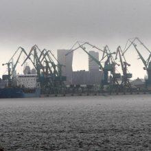 Uoste dėl stipraus vėjo ribojama laivyba