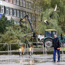 Audra pajūryje vartė medžius