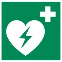 Žymėjimas: taip pažymėtose vietose yra defibriliatoriai.