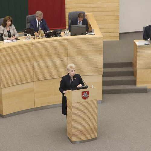 Devintasis D. Grybauskaitės metinis pranešimas Seime  © M. Morkevičiaus / ELTOS, R. Dačkaus / Prezidentūros nuotr.