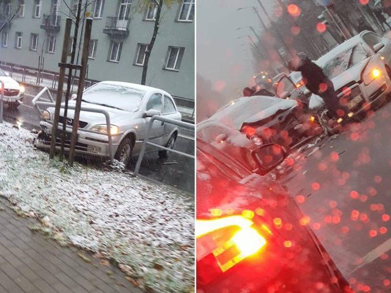 Po pirmųjų snaigių Kaune pasipylė eismo nelaimės, yra nukentėjusiųjų