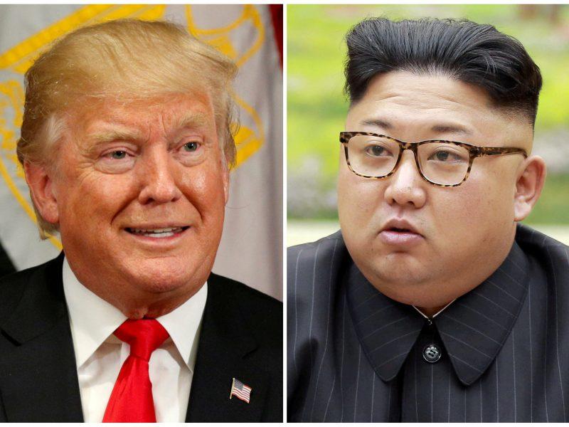 """""""Senis"""" D. Trumpas pasišaipė iš """"žemo ir storo"""" Kim Jong-Uno"""
