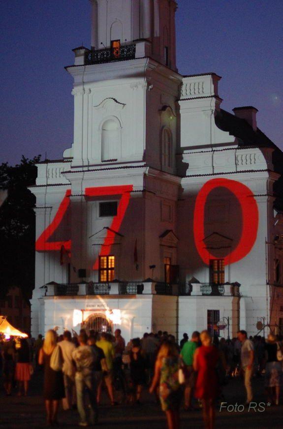 Šviesos ir garso instaliacija ant Kauno rotušės fasado