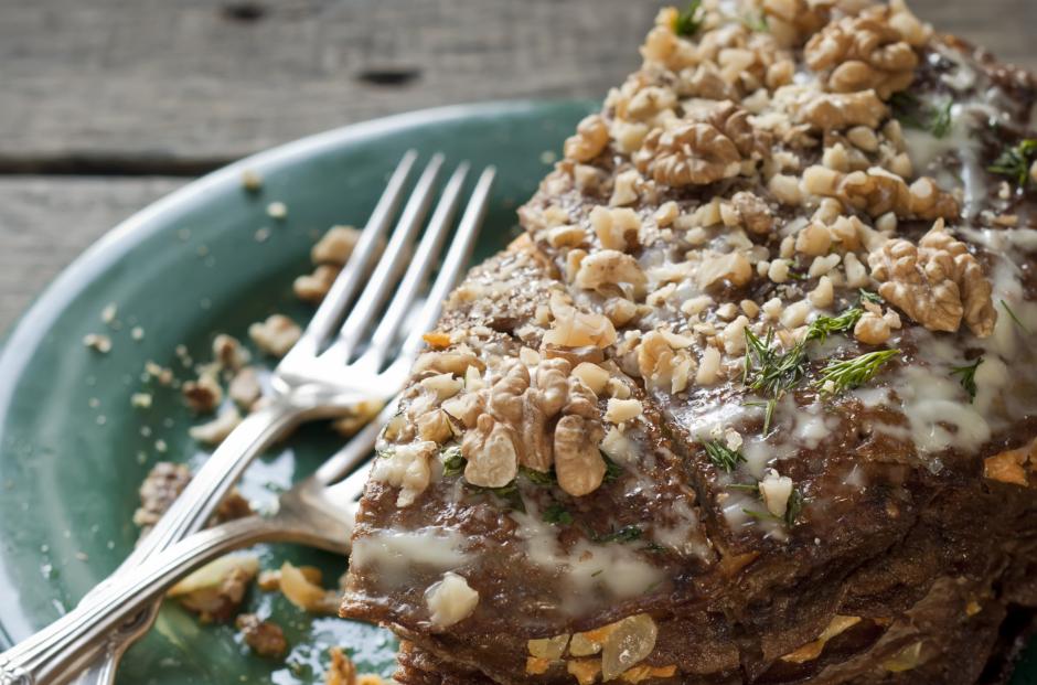 Grikių pyragas su šonine (receptas)