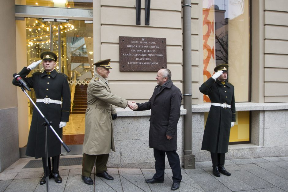 Pastatas Gedimo prospekte primins apie Lietuvos kariuomenės atkūrimą