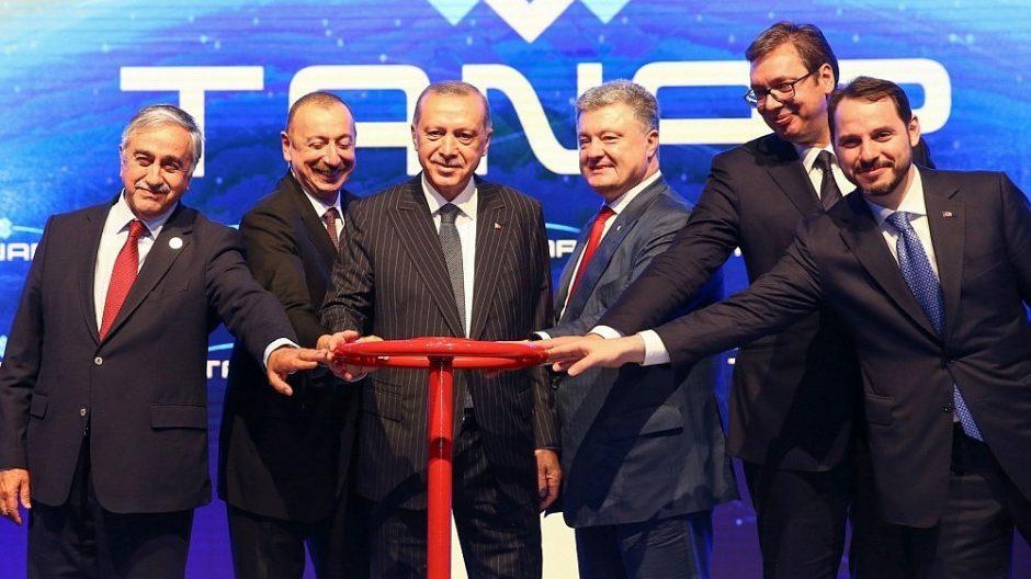 R. T. Erdoganas atidarė naują dujotiekį Azerbaidžano dujoms į Europą tiekti