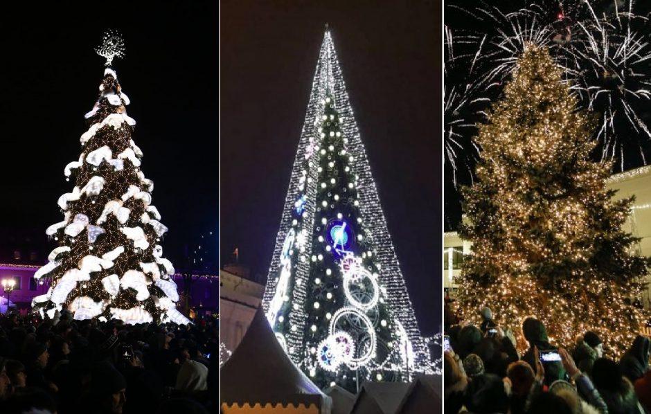 Didmiesčių kalėdinių eglių kova: kuri gražiausia?