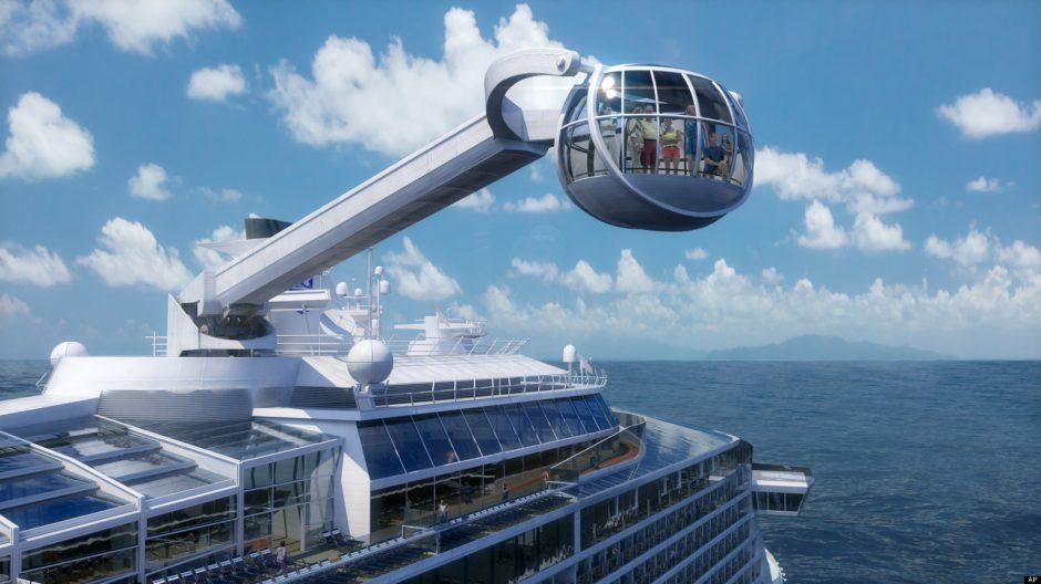 Antras pagal dydį pasaulyje kruizinis laivas vilios 91 m aukščio apžvalgos bokštu