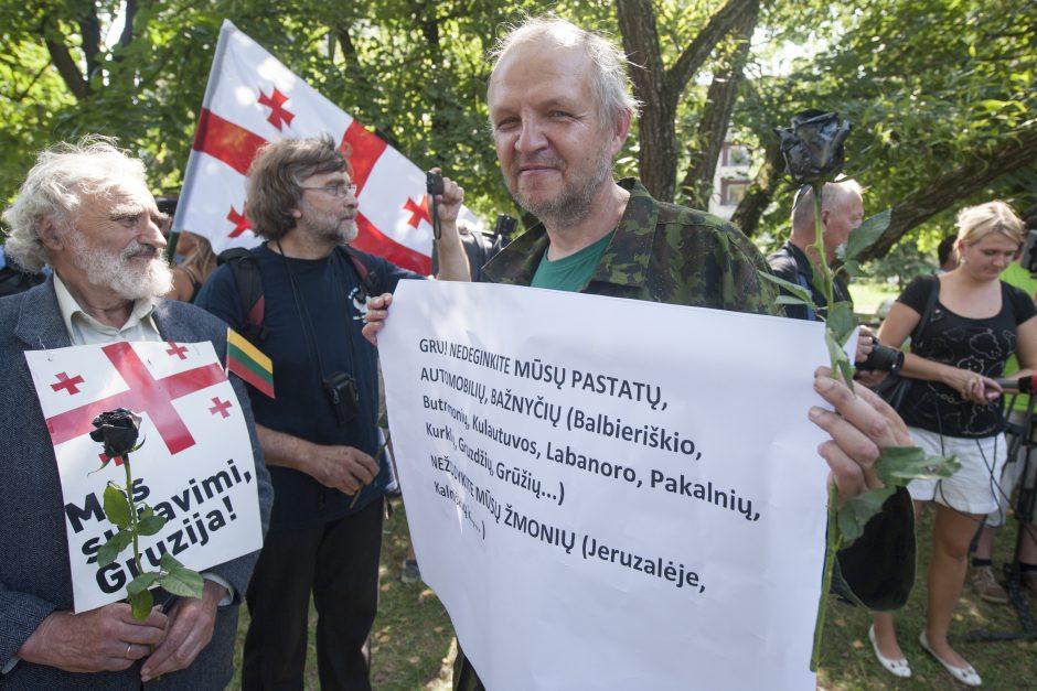 Prie Rusijos ambasados Vilniuje mitinge išsakyta parama Gruzijai