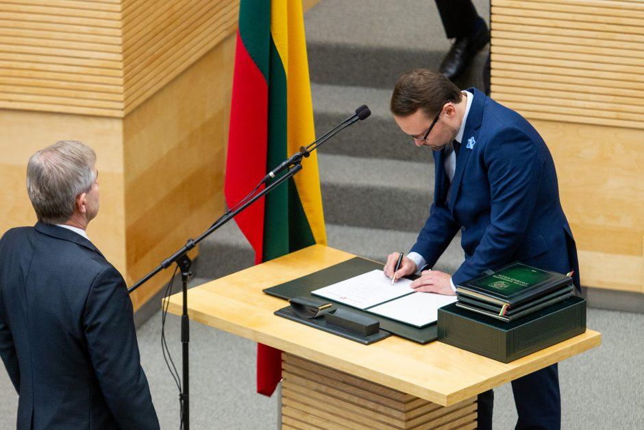 Kultūros ministro M. Kvietkausko priesaika Seime