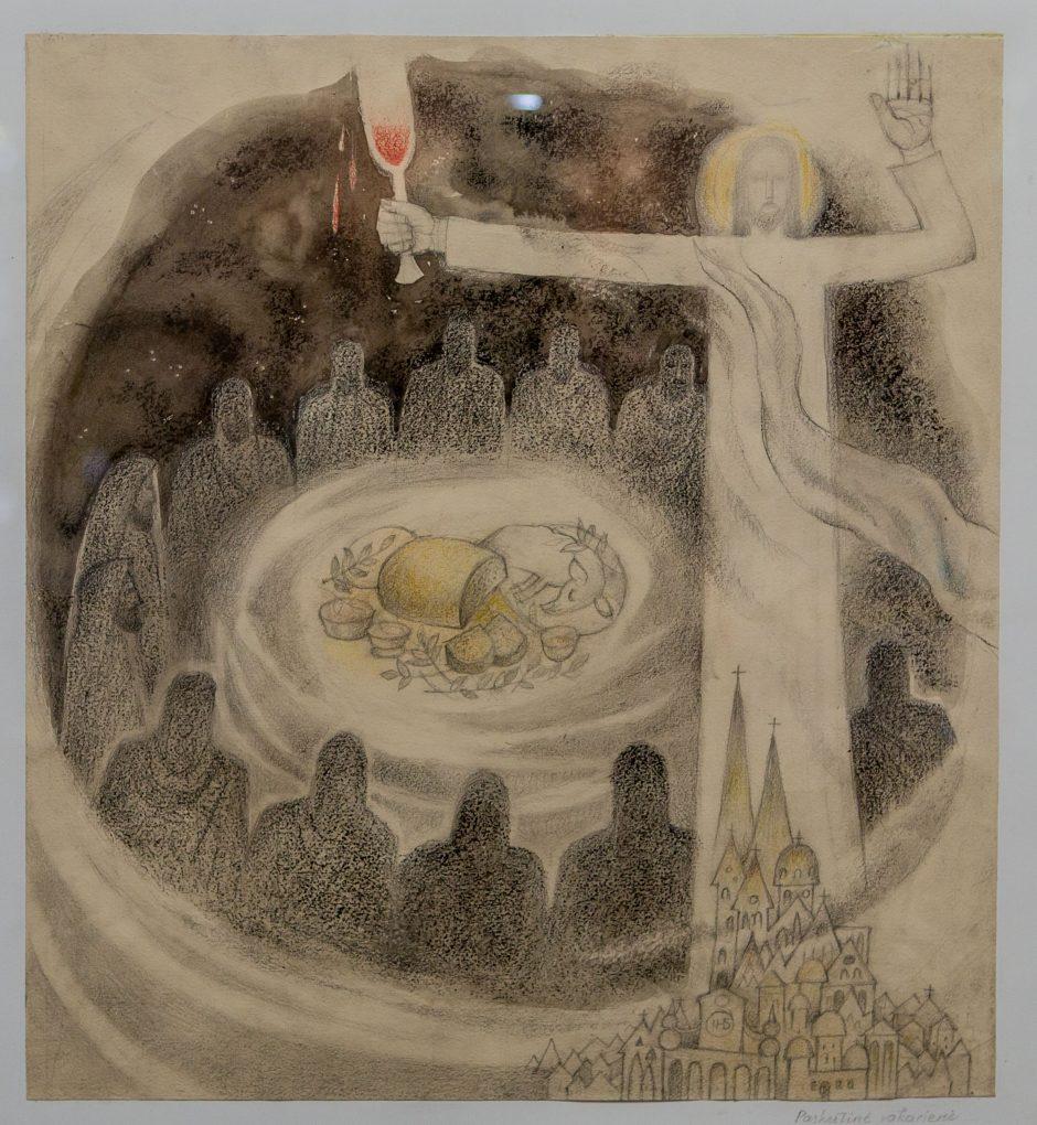 """Atidaryta D. Antinytės piešinių  paroda """"Pagal Bibliją"""""""