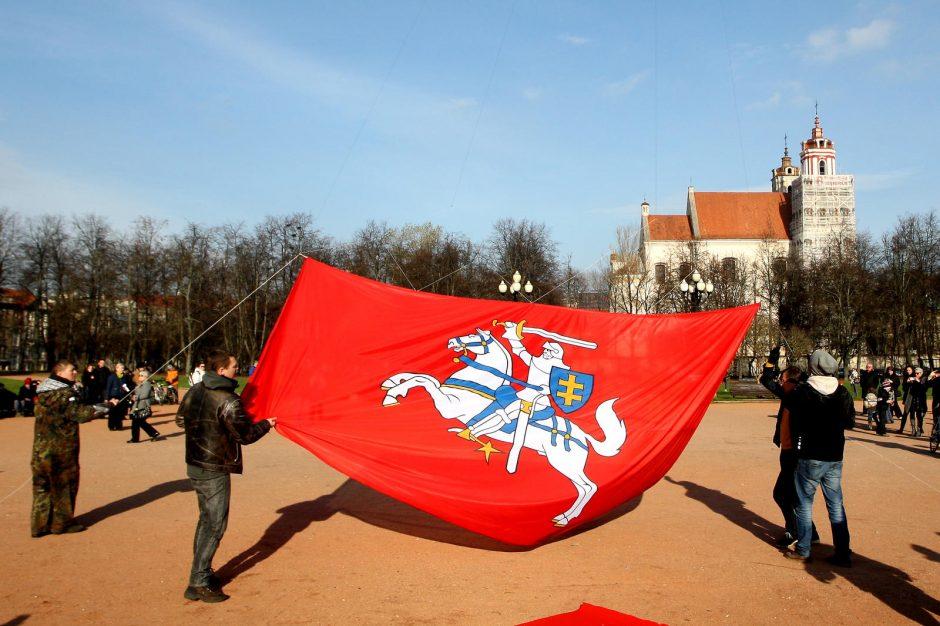 Lukiškių aikštėje pakilo didžiulė Vyčio vėliava