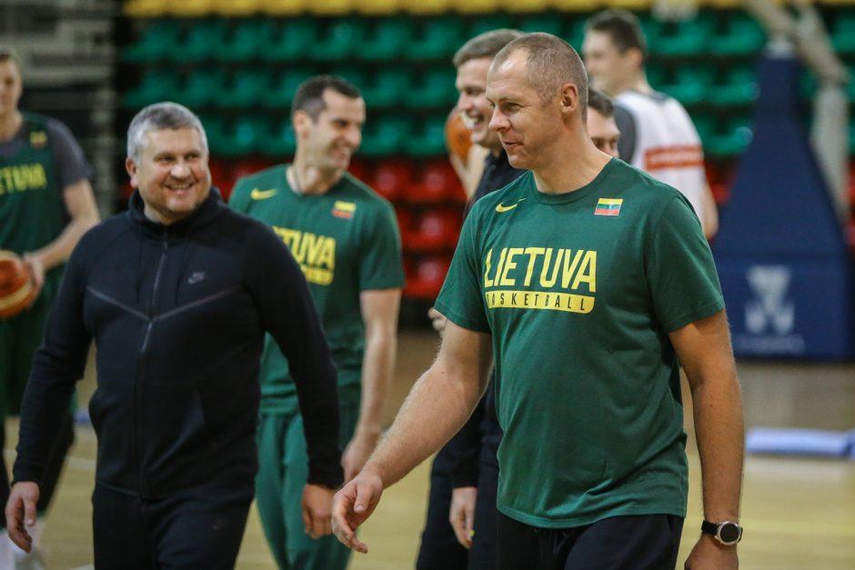Lietuvos vyrų krepšinio rintinės treniruotė