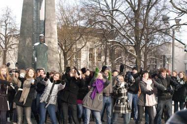 Vilniuje moksleiviai surengė akciją