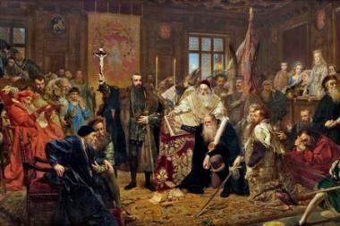 """Jano Mateikos paveikslas """"Liublino unija"""" pasiekė Vilnių"""