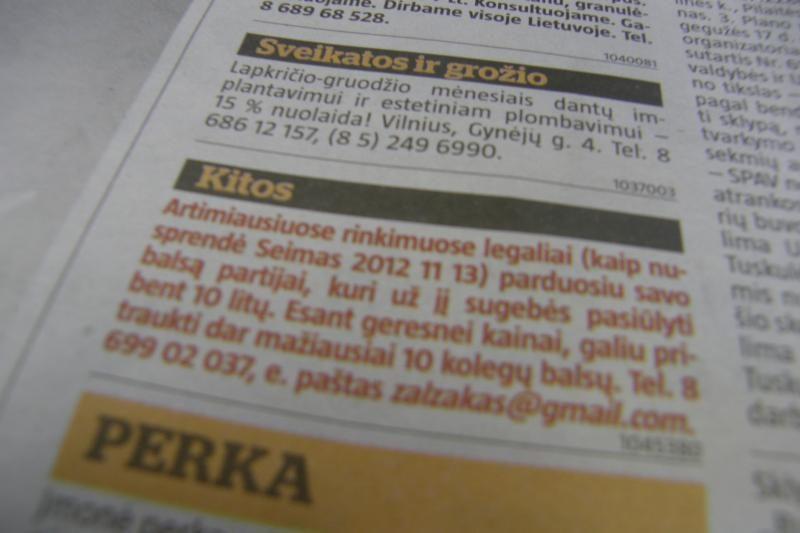 Vilnietis laikraščio skelbime siūlosi parduoti savo balsą rinkimuose