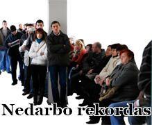 Nedarbo lygis Lietuvoje viršijo 15 proc.