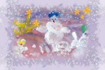 Vaikų piešiniai sveikins su Kalėdomis