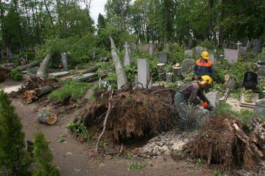 Panevėžio rajone stichija sugriovė kapines