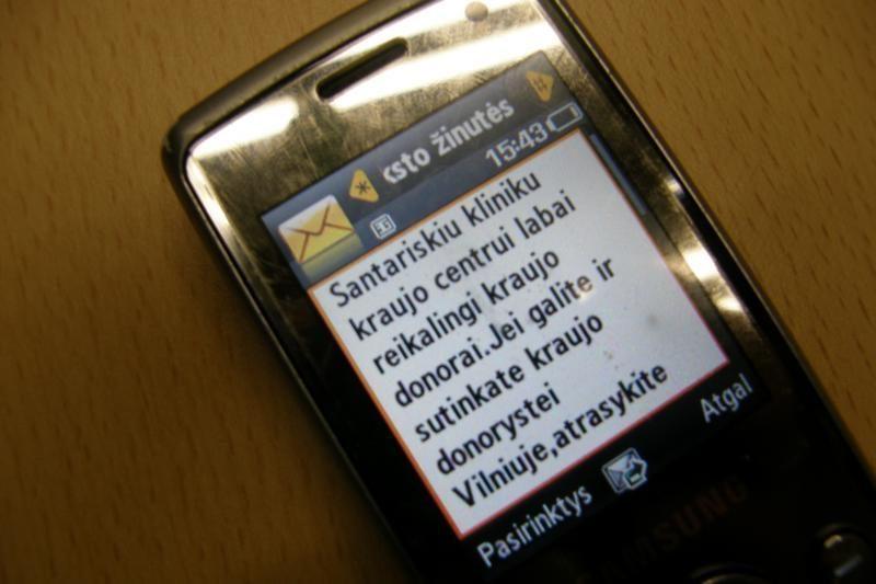 SMS žinutėmis kraujo prašoma ne dėl tragedijos, o užkertant jai kelią