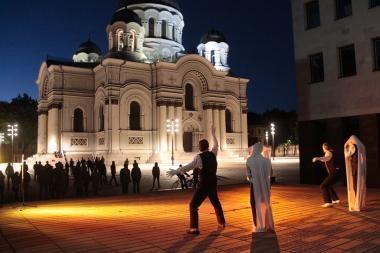 """Einam Kaunas"": improvizacija su T.Dobrovolskiu prie Soboro"