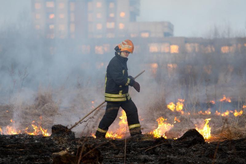 Ugniagesiai per parą 128 kartus gesino degančią žolę