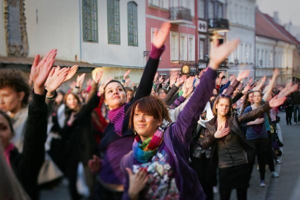 """Vilniuje nufilmuota """"Eurovizijos"""" flashmobo akcija"""