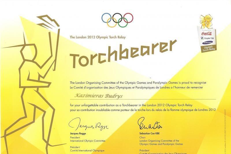 Olimpinės ugnies nešikui K. Budriui - padėka iš Londono