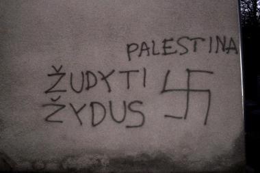 Ant žydų pastato - nesantaiką kurstantys užrašai