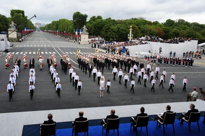 Prancūzija šventė           Bastilijos dieną