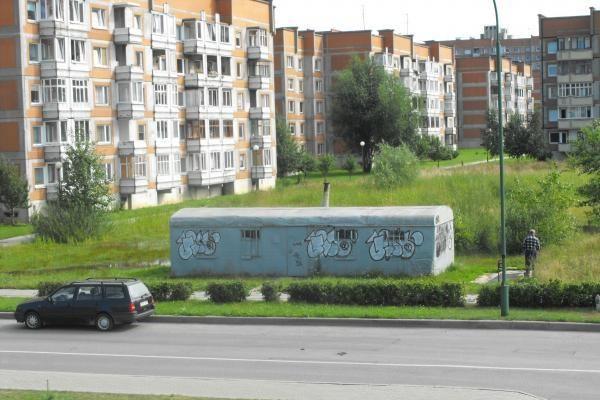 Liubeko gatvėje savavališkai pastatytas vagonėlis - nepajudinamas