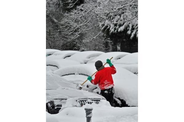 Po naktinio sniego Lenkija paskendo pusnyse