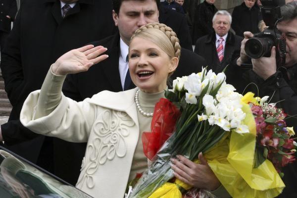 Ukrainiečiai susirinko prie kolonijos palaikyti J.Tymošenko
