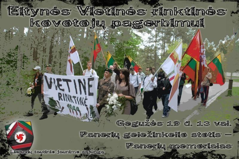 """Patriotinio jaunimo eisena """"Vietinės rinktinės"""" kovotojų pagerbimui"""