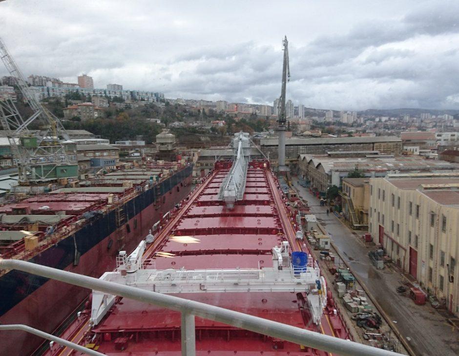 Klaipėdietis priiminėja laivą – uostų konkurentą
