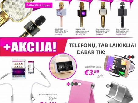 Skelbimas - Karaoke bevieliai mikrofonai + AKCIJA telefonų, tab laikikliai pigiau!