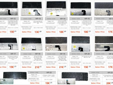 Skelbimas - PIGIAUSIAI. HP nešiojamo kompiuterio klaviatūra, keyboard, klava, klav