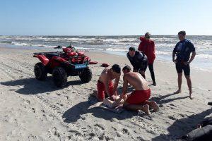 Gelbėtojai tobulinosi audringoje jūroje