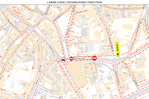 Šeštadienį – eismo ribojimai Bazilijonų, Užupio ir Trimitų gatvėse