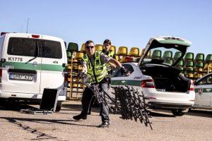 Automobilių lenktynėms skirtoje trasoje – patrulių pratybos