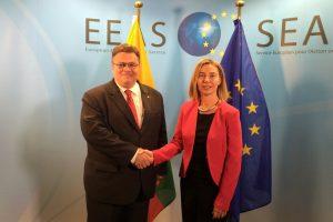 L. Linkevičius prašė F. Mogherini spausti Baltarusiją dėl AE