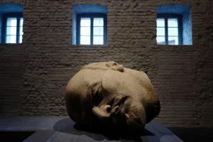 Berlyne eksponuojama atkasta Lenino statulos galva