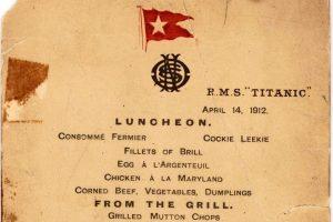 """""""Titaniko"""" valgiaraštis parduotas už 88 tūkst. dolerių"""