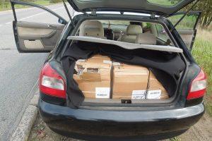 Muitininkai sulaikė 11,5 tūkst. eurų vertės baltarusiškų cigarečių