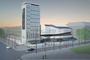 Statybininkai Klaipėdos muzikinio teatro teritorijoje plušės ir žiemą