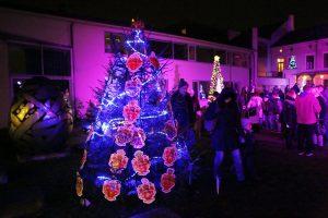 Mieste nušvis kalėdinių eglučių kiemelis